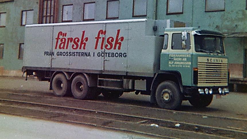 Fiskhamnens åkeri i början av 1960-talet. Foto: Privat