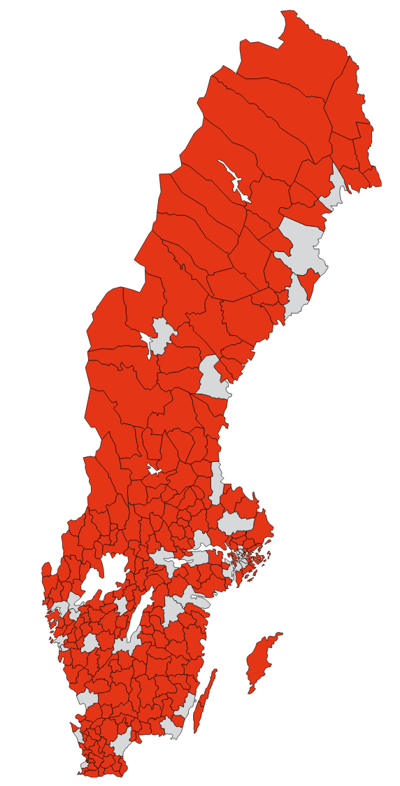"""En bild säger mer än tusen ord. De röda områdena illustrerar """"kommuner med mycket begränsad eller till och med obefintlig övervakning av den yrkesmässiga trafiken"""". Foto: Ur forskningsrapporten"""