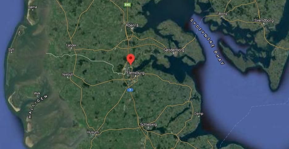 Polisens kontrolltält vid gränsövergången i danska Kruså blev en allt för svår passage för den polske chauffören att ta sig igenom. Foto: Google