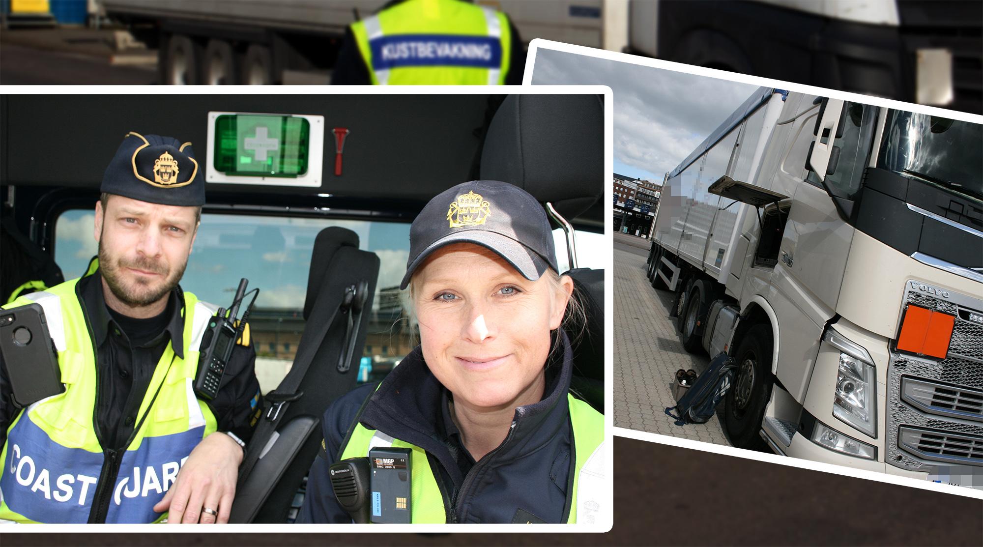 Farligt godsinspektörerna Daniel Nilsson och Jonna Ström kontrollerade det aktuella ekipaget.