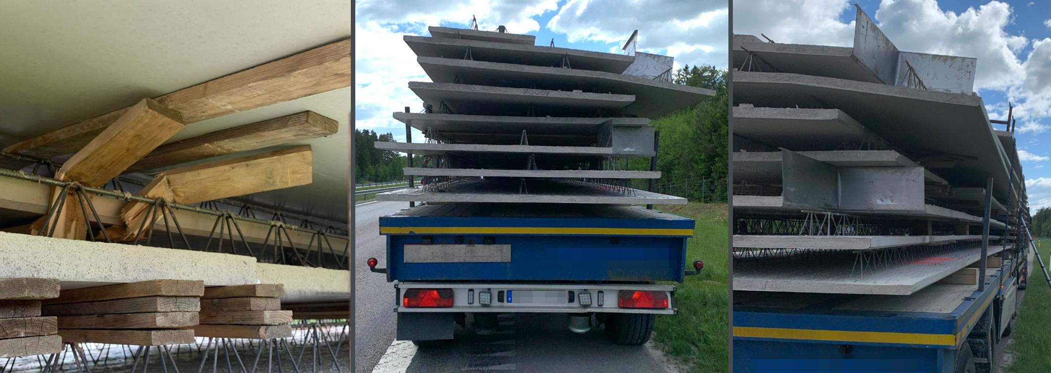 Ett svenskt ekipage med lastförskjutning leder till rapport för vårdslöshet i trafik.