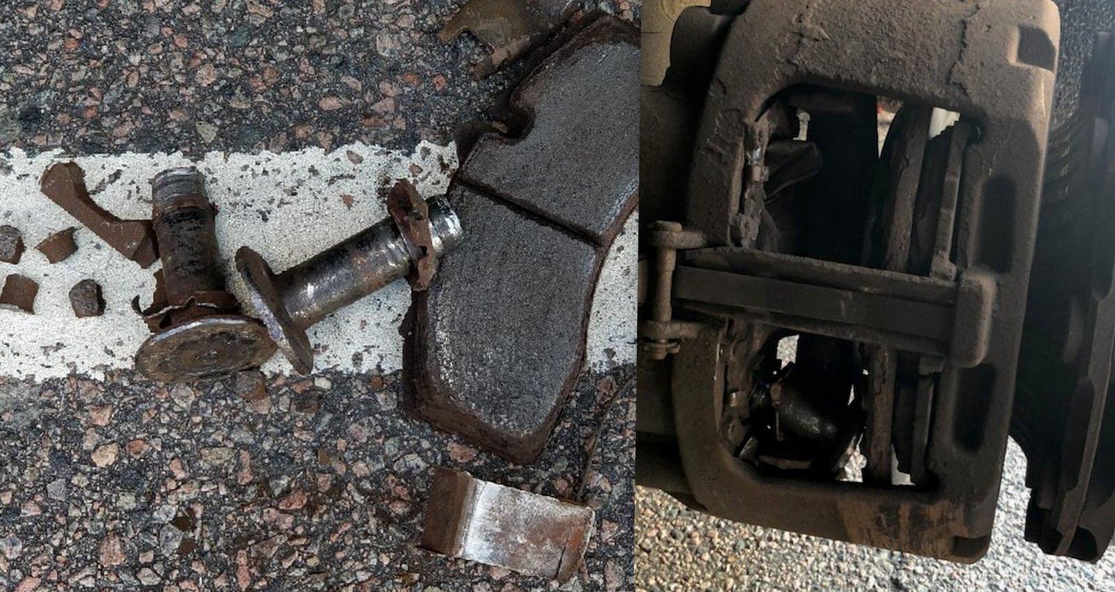 Till vänster ser vi de lösa delarna som fick plockas ut innan bärgaren kunde ta med sig trailern.