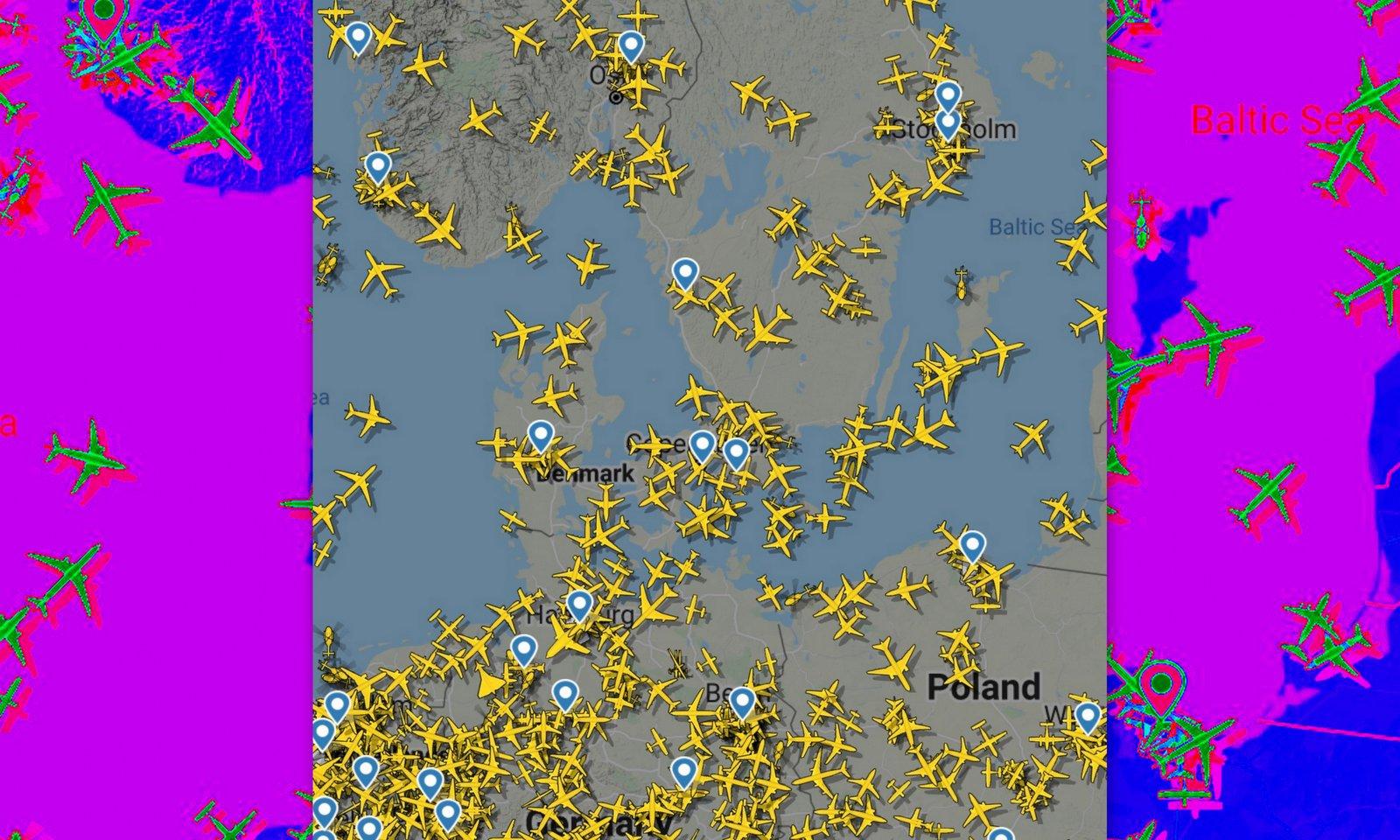 Trafikdensiteten över svenskt luftrum är lägre än i övriga Europa.