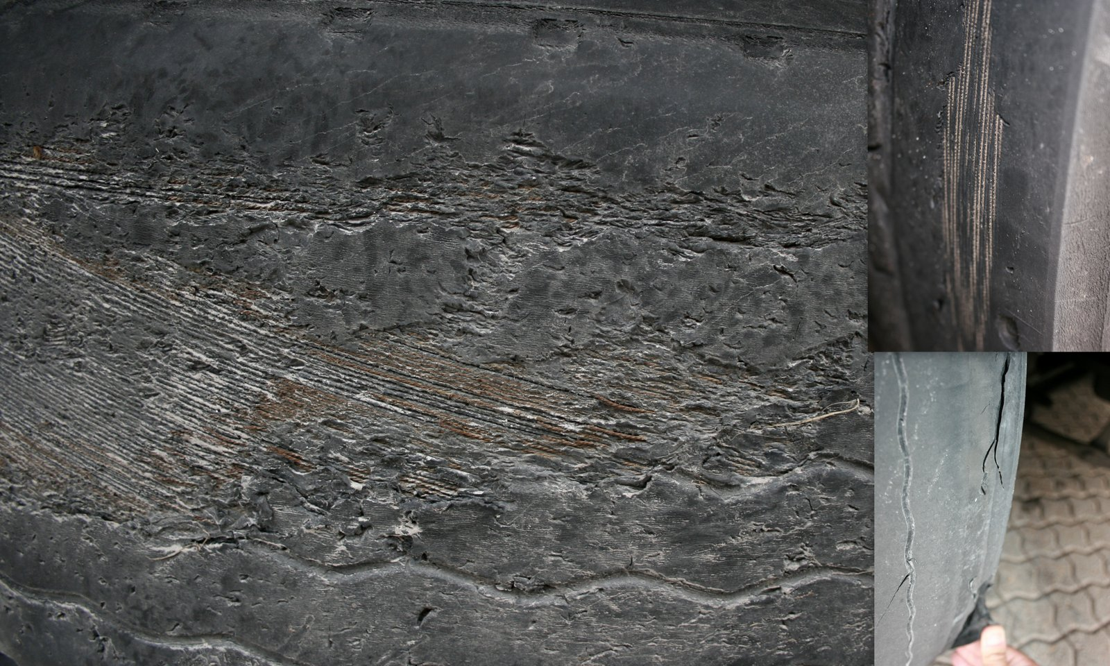 Reservhjulet till vänster i bild har körts helt slut. Den övre bilden till höger visar ett av trailerns däck och den undre bilden visar hur framhjulets däck har börjat separera. Foto: Heidi Bodensjö/Proffs.